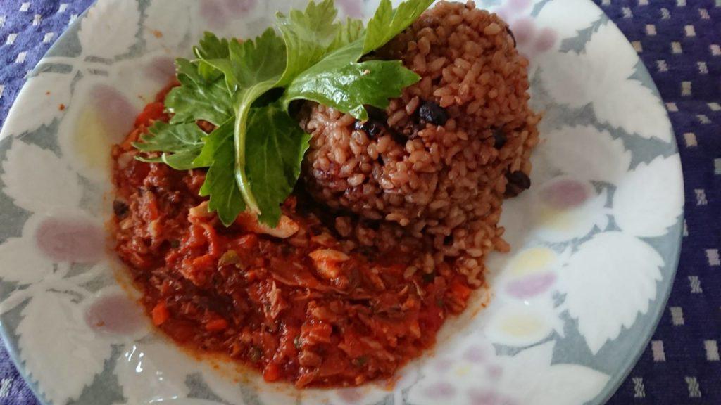 寝かせ玄米トマトサバ缶カレー