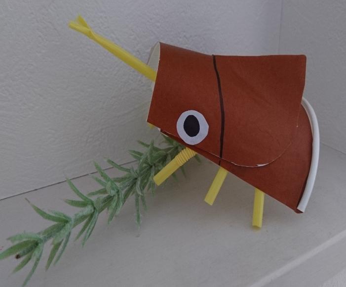 折り紙と紙コップのカブトムシ