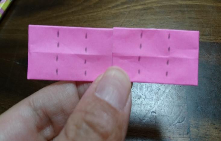 折り紙ピンク点線