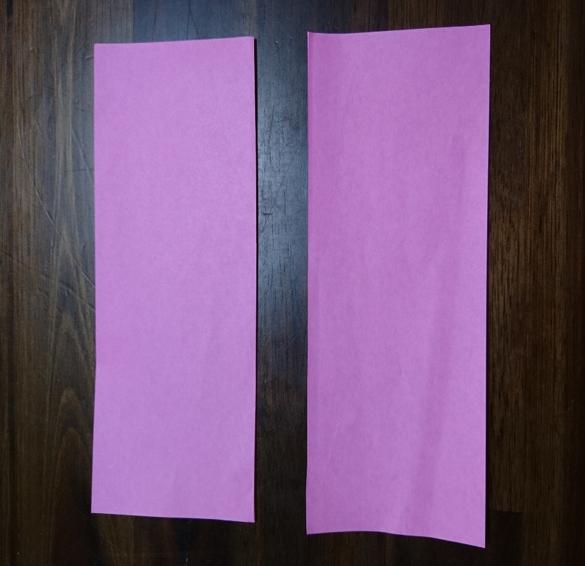 折り紙2等分長方形ピンク