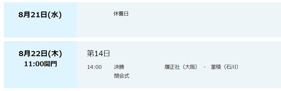 甲子園日程8月21から22日