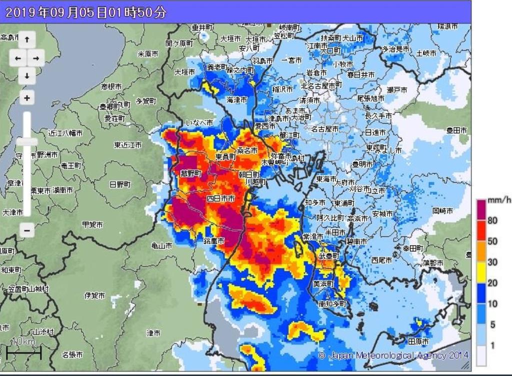 三重県6日1:05ハザードマップ