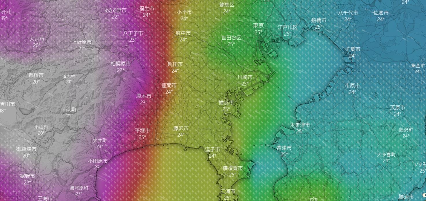 12日17時横浜周囲の風と雨の予報