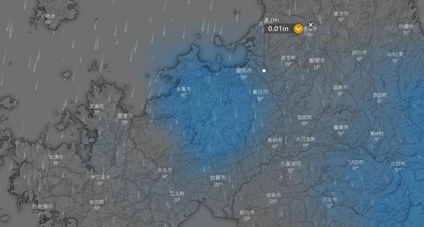 12日19時福岡風雨予報