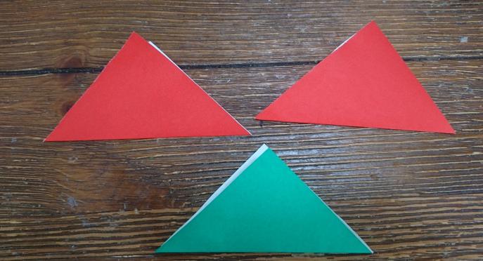 三角に折る