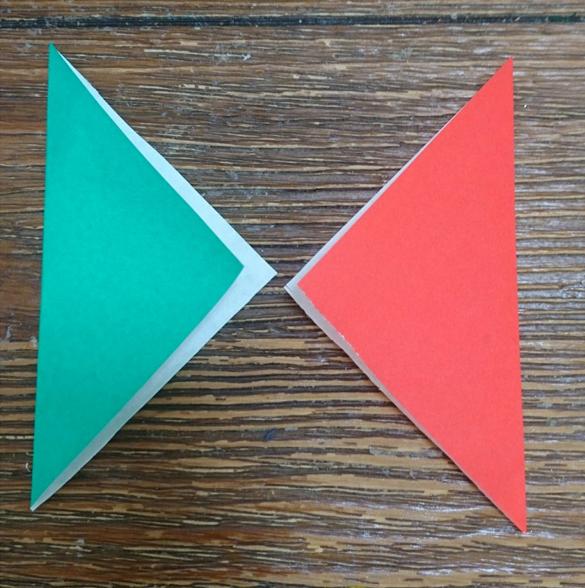 三角向かい合わせ折り紙