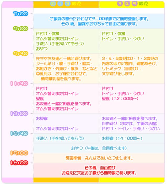 保育園のスケジュール