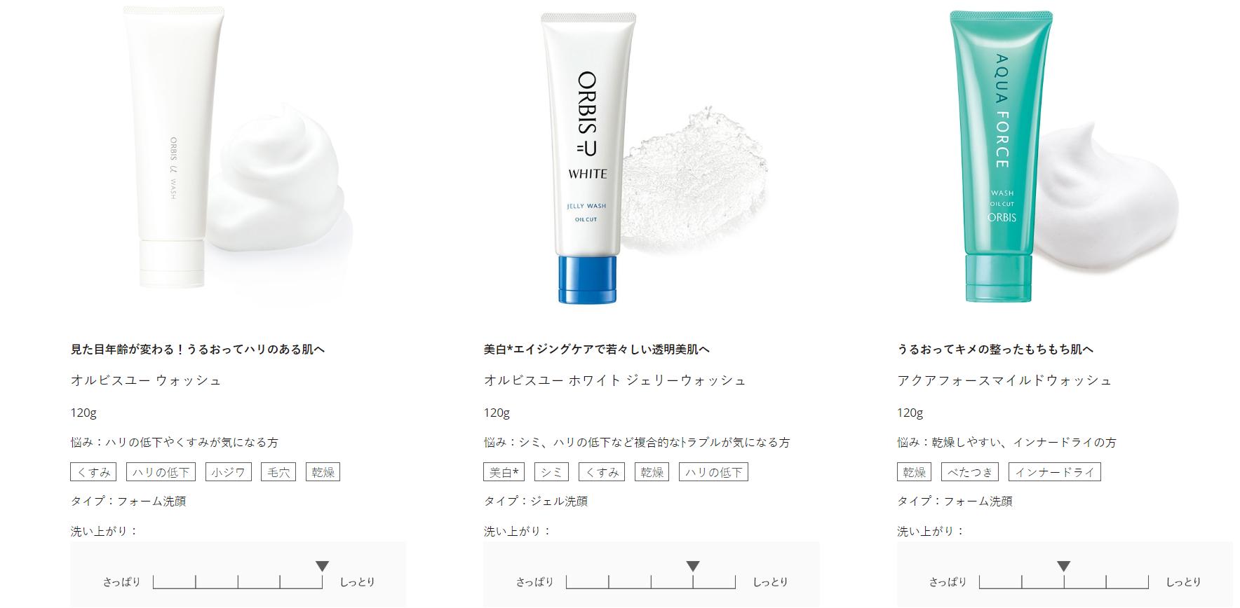 洗顔料オルビス洗顔料3種